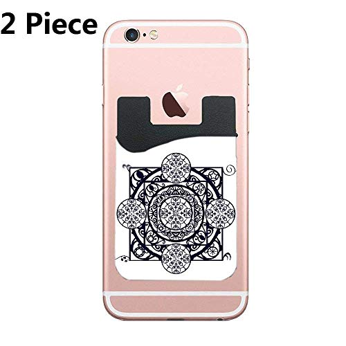 CardlyPhCardH Two Secure Cell Phone Stick On Wallet Card Holder Phone Pocket for iPhone, Android and All Smartphones (Nouveau Filigree Garden Gate)