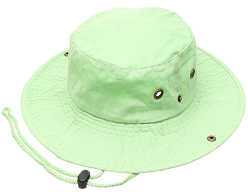 Summer Outdoor Boonie Hunting Fishing Safari Bucket Sun Hat with Adjustable Strap (Lime Green,SM)