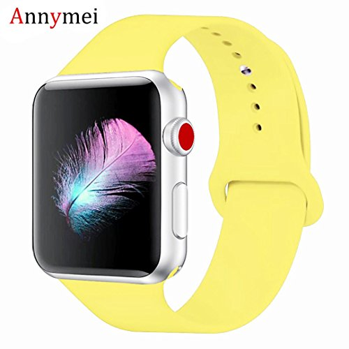 (Annymei Watch Band, Durable Soft Silicone Replacement Compatible Watch Strap Replacement Sport Band Watch Band Series 4 Series 3 Series 2 Series 1 Sport, Edition (Pollen Yellow, 38mm(40mm) S/M))