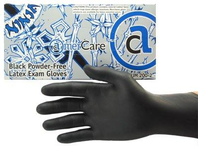 Ninja Black Powderfree Latex Examination Glove 100pc/Box - Large