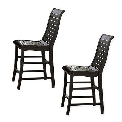 Uttermost Willow Counter Chairs in Distressed Black (Set of 2) l Curved Design Provides Maximum Comfort by Uttermost