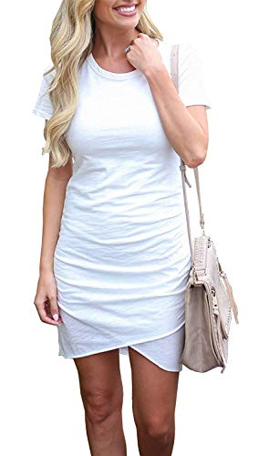 - Summer Tshirt Dresses for Women Casual Ruched Irregular Bodycon Short Mini Dress (X-Large, White)