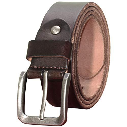 PAZARO Men's Soft Top Grain 100% Leather Belt Deep Brown Color