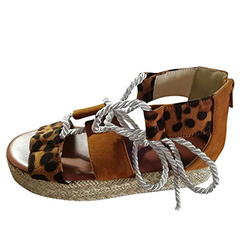 Londony ♪ Womens Lace Up Platform Wedge Espadrille Heel Peep Toe Slingback D'Orsay Sandals Summer Ankle Wrap Shoes Brown