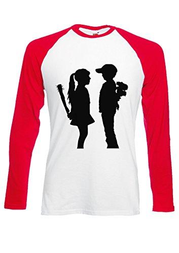 BANKSY Girl and Boy Relationsh?ip Meaning Red/White Men Women Unisex Long Sleeve Baseball T Shirt-M