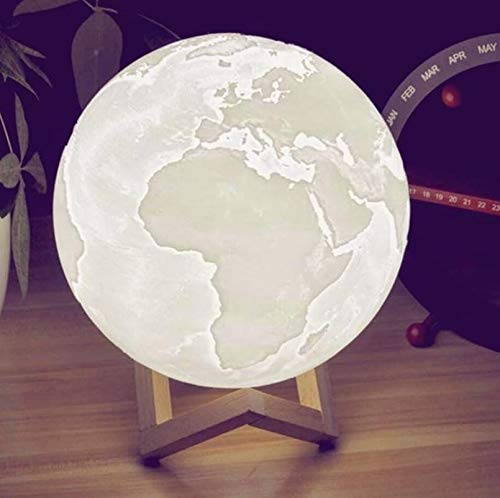 Knostic technologies Earth Lamp Wireless with Wooden Stand Tripple Color/Decoration lamp - (14 cm)