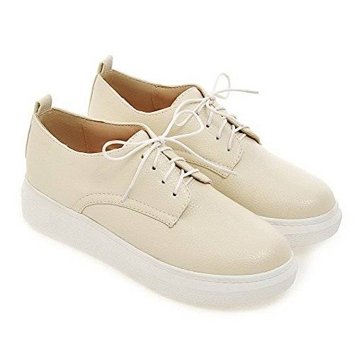 VogueZone009 Women's Pu Solid Lace up Round Closed Toe Low-Heels Pumps-Shoes Beige aEatq
