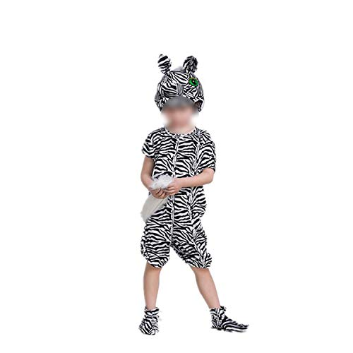 Children's Animal Performance Halloween Cosplay Jumpsuit Costume Long Sleeve,Zebra Short,100cm