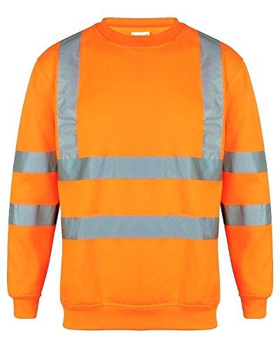 HuntaDeal Hi Viz Vis Zip Hooded Sweatshirt Hoodies Hoody 2 Tone High Visibility Reflective Tape Band Work Fleece Safety Sweat Shirts Warm Security Workwear Jumper Tops Plus Big Size