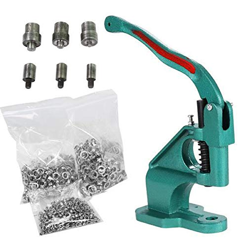Yaheetech Hand Press Grommet Machine 3 Die (#0#2#4) and 1500 Pcs Silver Grommets Eyelet Tool Kit Heavy Duty ()