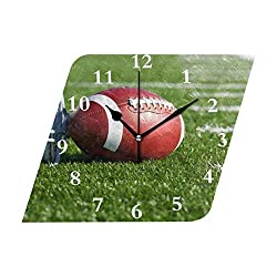 HangWang Wall Clock American Football Field Silent Non Ticking Decorative Diamond Digital Clocks Indoor Outdoor Kitchen Bedroom Living Room