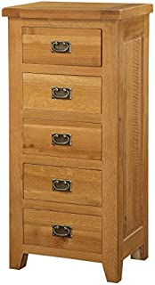 Furniturevilla Acorn Solid Oak Chest 5 Drawer Narrow, Antique Brass Handles, 550W x 420D x 1150H cm, Bedroom Furniture