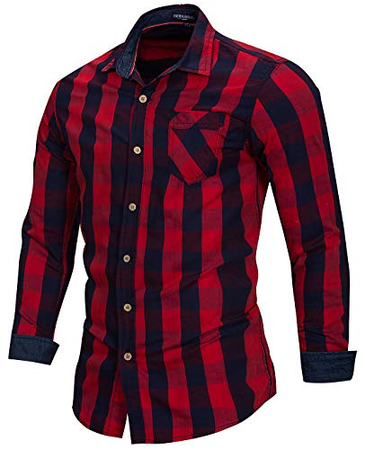 (Men's 100% Cotton Regular-Fit Long-Sleeve Button-Down Buffalo Plaid Shirt with Pocket, Red/Royal Blue, US S, EUR M)