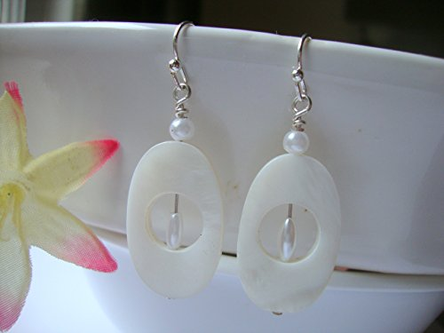 Shell Oval Ivory - White Oval Mother Of Pearl Shell Ivory Pearl Silver Dangle Earrings