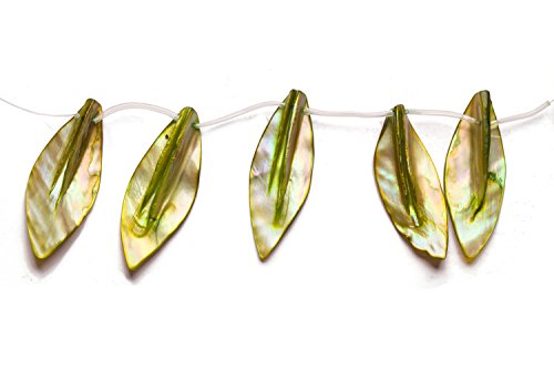 Green Mother Of Pearl Shell (Olive Green Mother-Of-Pearl Top Drilled Leaf Shell Beads Size:45x20mm)