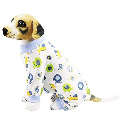 Pet Sweater,JHKUNO Pet Puppy Soft Pajamas Villus Warm Clothes Lovely Print Cotton Dog Cat Sleepwear Apparel Clothing Blue ()