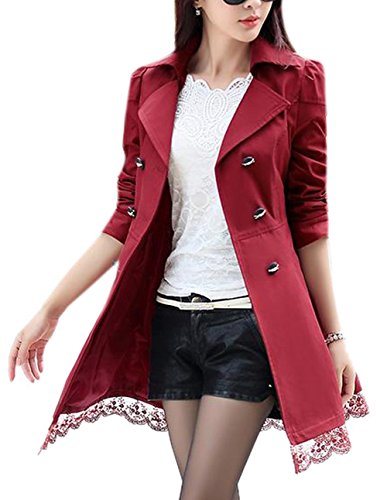 Lingswallow Women's Elegant Double Breasted Lace Hem Trench Coat Jacket Red by Lingswallow (Image #1)