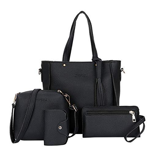 Sac 4 Guoxuee Main Bag Composit noir Mode À Pièces lot Glands Bandoulière pZgqZ
