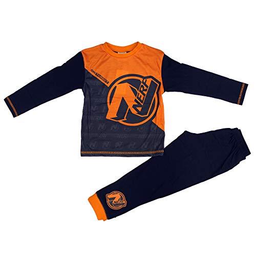Jongens Nerf Pyjama 4-10 Jaar Navy Oranje Nachtkleding Kids Nachtkleding