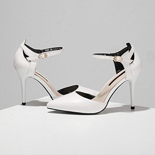 Corte Pie Boda Tobillo Zapatos White Mujer Dedo Oficina Sandalias 8nmNw0