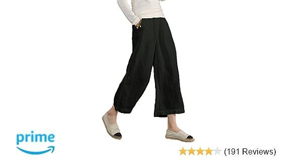 93b7497c312d63 Amazon.com: Ecupper Women's Elastic Waist Causal Loose Trousers 100 Linen  Cropped Wide Leg Pants: Clothing