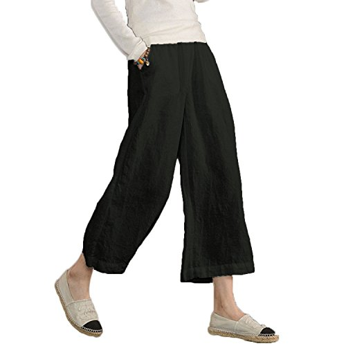 Ecupper Women's Elastic Waist Causal Loose Trousers Plus 100 Linen Cropped Wide Leg Pants, Black, US 12=Tag XL -