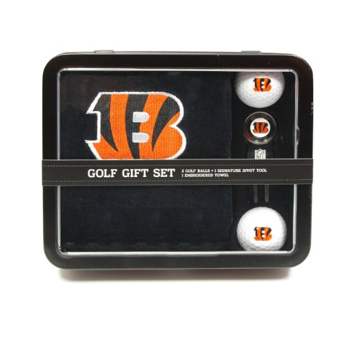 Team Golf NFL Cincinnati Bengals Gift Set Embroidered Golf Towel, 2 Golf Balls, & Divot Tool with Removable Double-Sided Magnetic Ball Marker