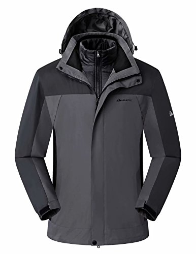 MOUNTEC 3in1 Men's Waterproof Outdoor Jacket with Removable Quilted Puffer Jacket Lining (Jacket Detachable Liner)