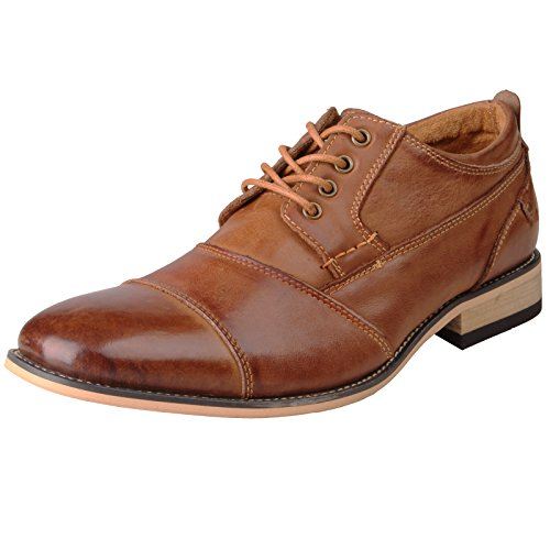 Kunsto Men's Leather Cap Toe Oxford Shoes US Size 11.5 (Oxford Slip Heels)