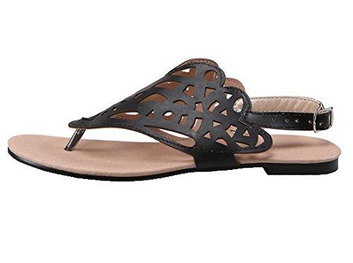 AalarDom Mujer Mini Tacón Pu Sólido Hebilla Sandalias de vestir Negro