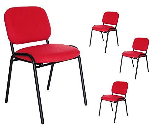 Paquete de 4 sillas de visita tapizada en tela 104z (rojo)