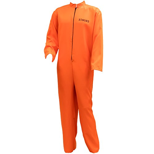 Conniving Convict Men's Halloween Costume Jailbird Orange Black Prison Jumpsuit