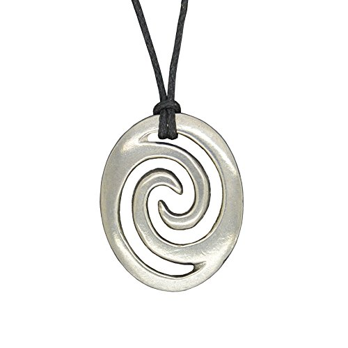 (Handmade New Zealand Oval Wave Spiral Pewter Pendant on Waxed Cord)