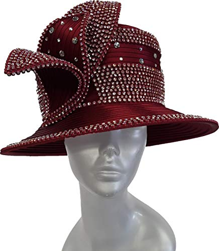 Women's All Year Round Satin Ribbon Adjustable Hat with Crystal Rhinestones (Burgundy)