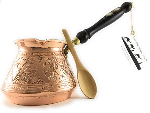 The Silk Road Trade - ACI Series (Large) - Thickest Solid Hammered and Engraved Copper Turkish Greek Arabic Coffee Pot / Coffee Maker Cezve Ibrik Briki with Wooden Handle (18 fl oz)