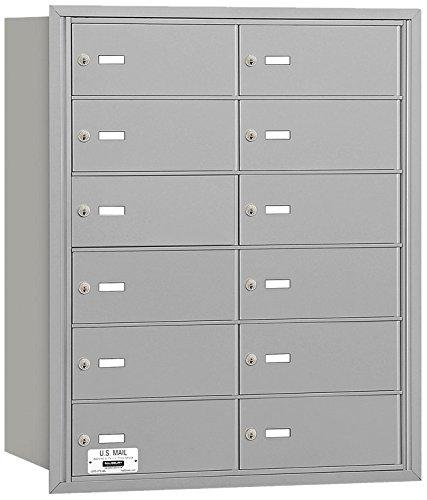 Salsbury Industries 3612ARU 4B Plus Horizontal Mailbox, 12 B Doors, Rear Loading, USPS Access, Aluminum
