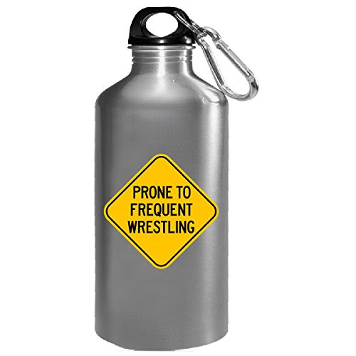 Wrestling Funny Warning Road Sign Gift For Wrestlers - Water Bottle by Sierra Goods