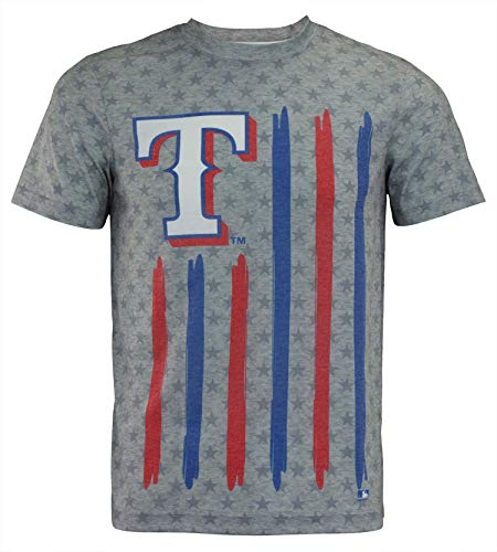 MLB Men's Big Logo Flag Tee, Texas Rangers Small
