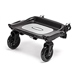 Attaches to the rear axle of any Baby Jogger™ single or double stroller. Glider board easily attaches to allow your little one to stand. Non-slip surface. Board folds flat against stroller for convenience.  Easily snaps off for speedy storag...