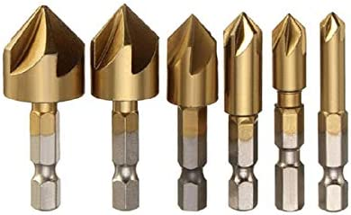 with 6Pcs Countersink Drill Bit 4pcs Deburring Metal Wood Drill Bit set 1 pcs 90 Degree Center Punch Tool for Wood Quick Change Bit Deburring External Chamfer Tool Stainless Steel Remove Burr Tools