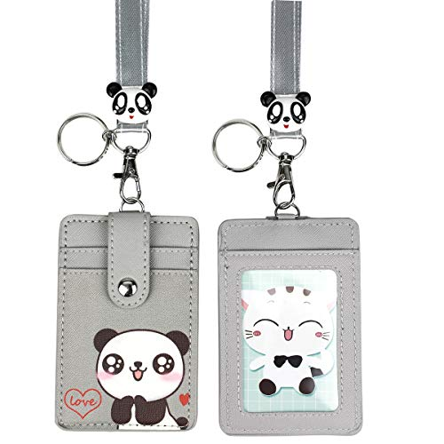 HASFINE Cute Credit Card Case Neck Pouch ID Badge Holder Lanyard with Cartoon Shield Keychain for Students Teens Girls Women, Love Panda