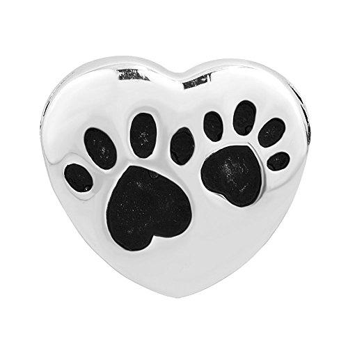 (Q&Locket 925 Sterling Silver Paw Print Heart Beads Love Dog Charm for Bracelet)