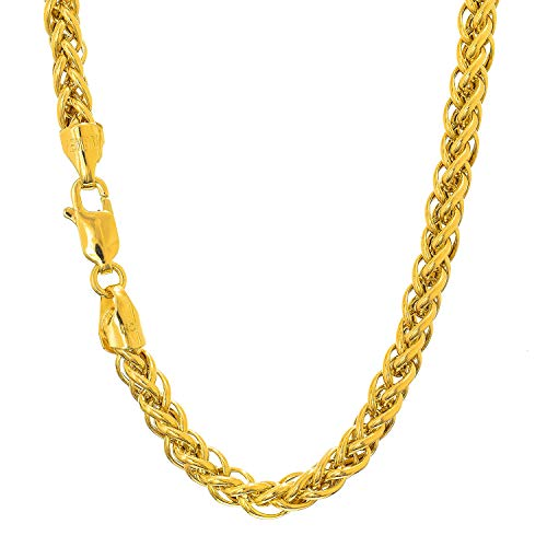 9gr Light (JewelStop 14k Semi-Solid Yellow Gold 3.3 mm Light Weight Spiga Wheat Chain, Lobster Claw - 20
