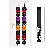 Famistar Velcro+Metal 2 Pack of Baseball Cap Holder 32 Caps,Adjustable Cap Display Rack Strap with 8 Hooks and 16 Clips for Door,Closet and Wall,Hat Storage Organizer