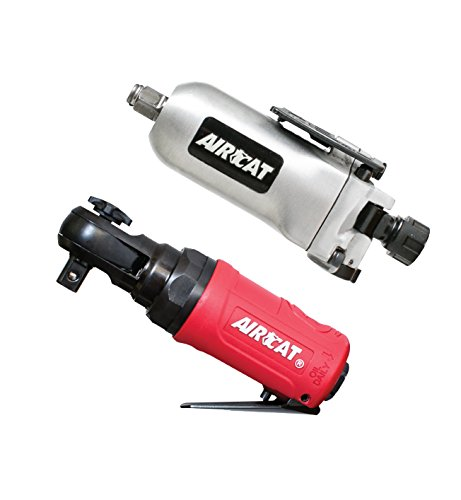 AIRCAT 1320/807 3/8'' Butterfly Impact & RATCHET Combo, Compact, Silver/Red/Black by AirCat