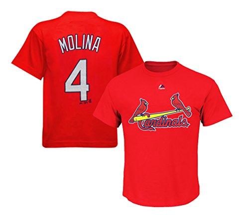Majestic St. Louis Cardinals Yadier Molina Kids Red High Density T-Shirt (Louis Cardinals Mlb Hoody)