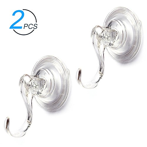 ShineMe Clear Plastic Suction Cup Hook Ultra Heavy Duty Strong Vacuum Traceless Coats Hooks Smooth Wall Shower Kitchen Window Bathroom Bag Coats Towels Caps Holder (2pcs)