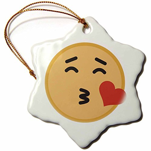 (OneMtoss Xander Inspirational Images Blowing a kiss Emoji, Picture of Emoji on a White Background Snowflake Porcelain)