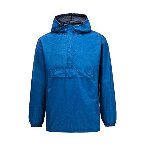 (PTSports Unisex Hooded Lightweight Windbreaker No Cap Classic Rain Breathable Quick Dry Shell Jacket Royal)
