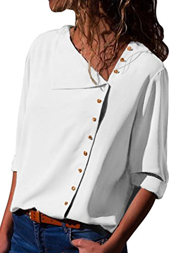Shawhuwa Womens Long Sleeve Button Down Loose Fitting Blouse Tops White M